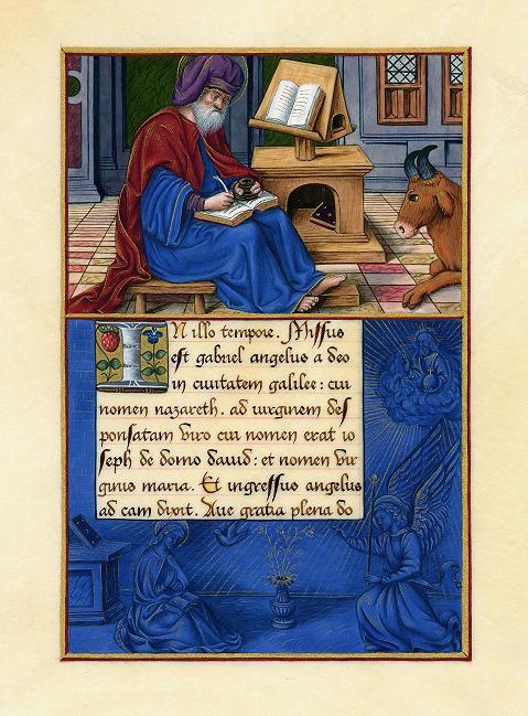 Enluminure, Saint Luc, une réalisation de S. Constantin